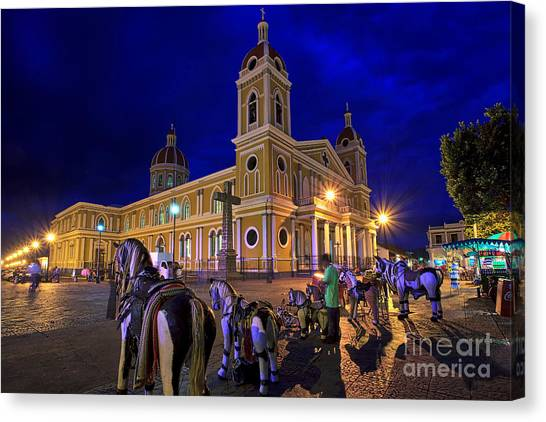 Cathedral Of Granada Shines Brightly Canvas Print
