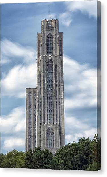 Carnegie Mellon University Canvas Print - Cathedral Of Learning by Robert Fawcett