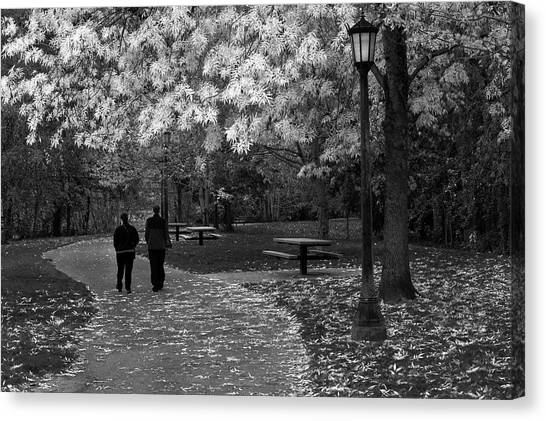 Cathedral Park In Fall Bw Canvas Print