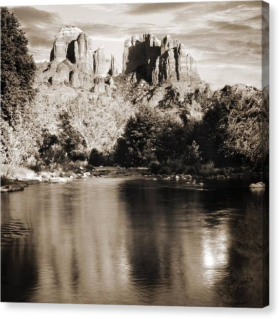 Cathedral Rock Reflection Canvas Print by Bob Coates