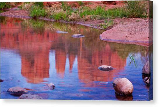 Cathedral Rock Reflection Pastel Canvas Print by Bob Coates