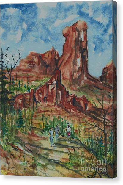 Hiking Cathedral Rock,  Sedona, Az. Canvas Print
