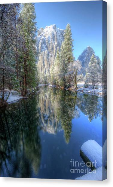 Cathedral Rock Canvas Print - Cathedral Rocks From El Capitan Bridge Winter Yosemite National Park by Wayne Moran