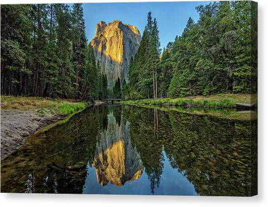 El Capitan Canvas Print - Cathedral Rocks Morning by Peter Tellone