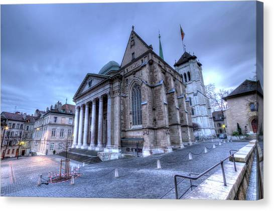 Cathedral Saint-pierre, Peter, In The Old City, Geneva, Switzerland, Hdr Canvas Print