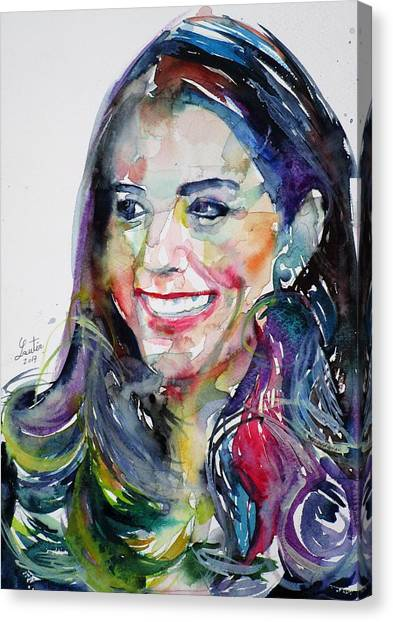 Kate Middleton Canvas Print - Catherine,duchess Of Cambridge - Watercolor Portrait.5 by Fabrizio Cassetta