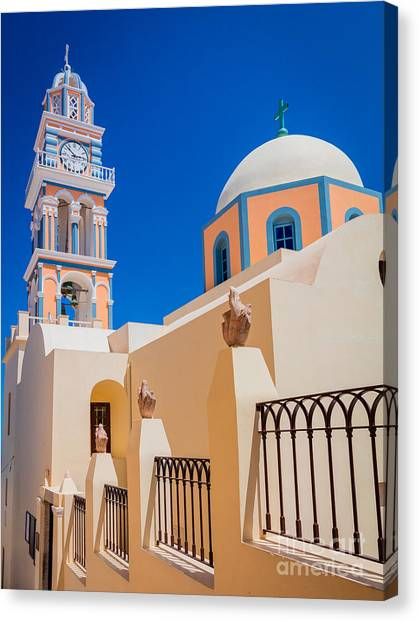 Greece Canvas Print - Catholic Cathedral Church Of Saint John The Baptist by Inge Johnsson