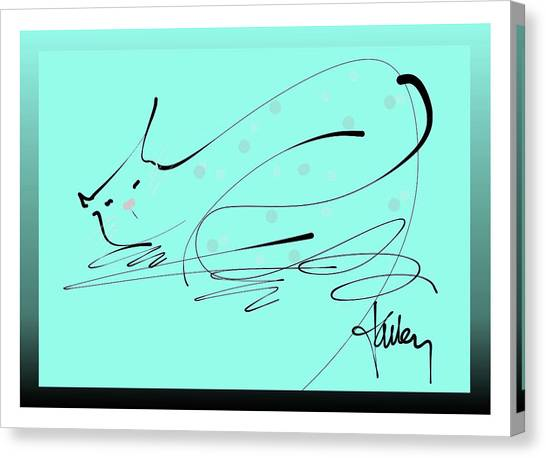 Canvas Print featuring the mixed media Catnap In Blue by Larry Talley