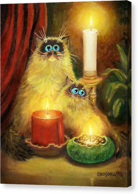 Himalayan Cats Canvas Print - Cats And Candles No. 1 by Baron Dixon