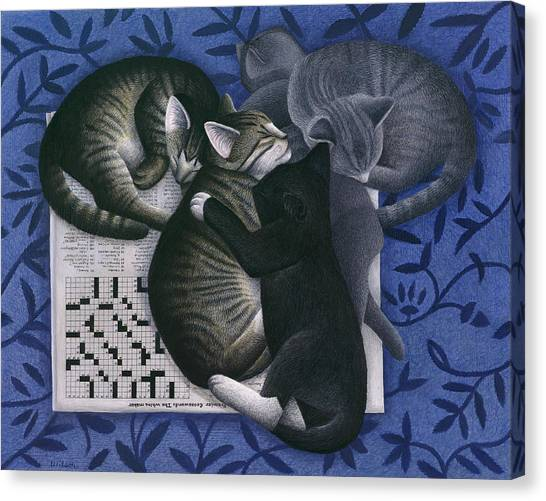 Cats And Crossword  Canvas Print by Carol Wilson