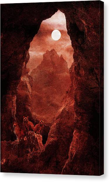 Fantasy Cave Canvas Print - Cats From Mars by Cambion Art