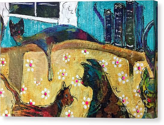 Canvas Print featuring the painting Cats Hangin' Out  by Claire Bull