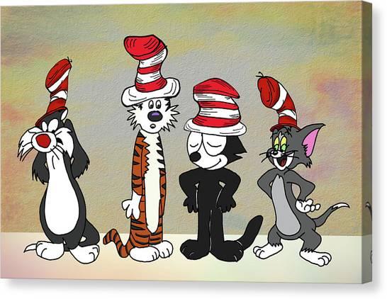 Cats In Hats Too Canvas Print by John Haldane