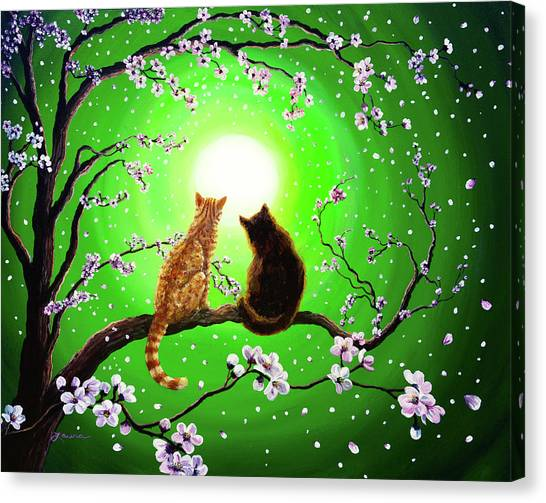 Cats On A Spring Night Canvas Print