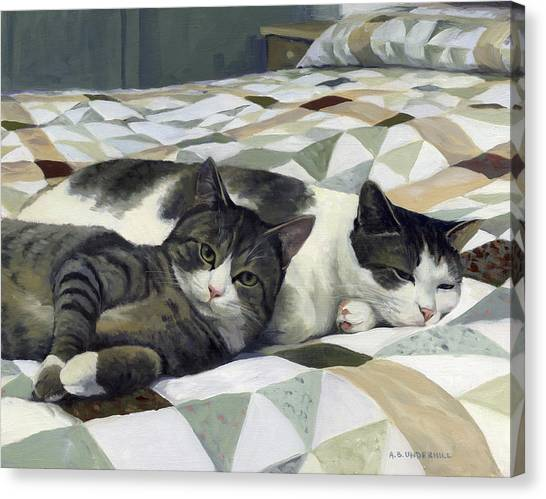 Cats On The Quilt Canvas Print