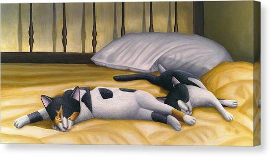 Cats Sleeping On Big Bed Canvas Print by Carol Wilson