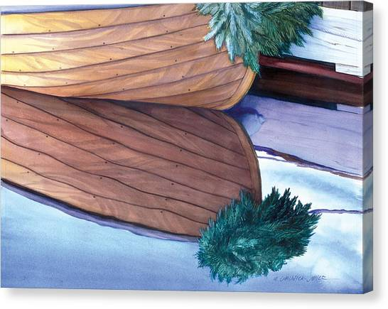 Dinghy Canvas Print - Catspaw With Wreath by Marguerite Chadwick-Juner