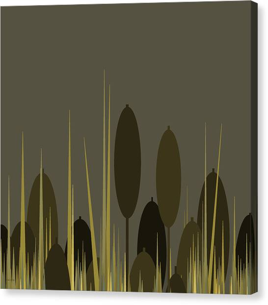Cattails In The Rain Canvas Print