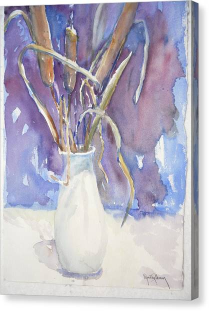 Cattails On White Canvas Print by Dorothy Herron