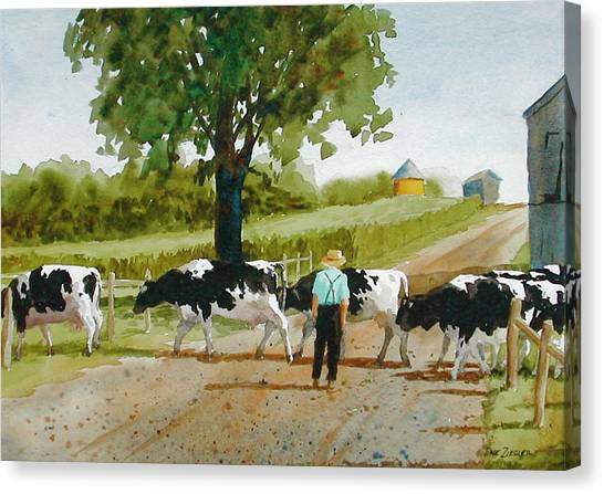 Cow Farms Canvas Print - Cattle Crossing by Faye Ziegler