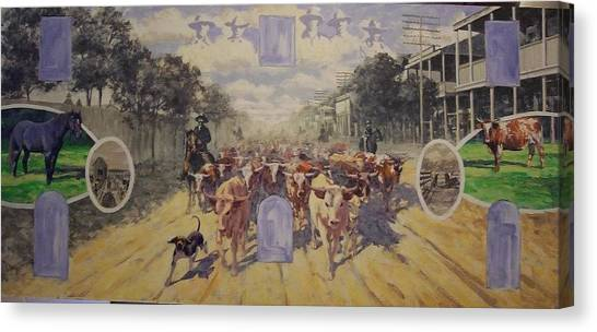 Cattle Drive Down Marion Avenue 1903 Sketch Canvas Print by Michael Vires