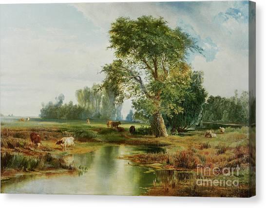 Moran Canvas Print - Cattle Watering by Thomas Moran