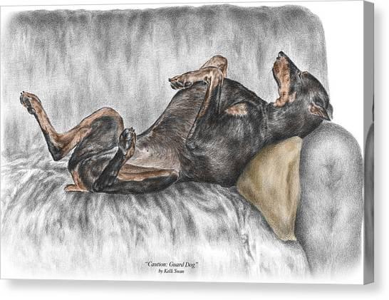 Doberman Canvas Print - Caution Guard Dog - Doberman Pinscher Print Color Tinted by Kelli Swan