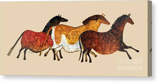 Cave Horses In Beige Canvas Print