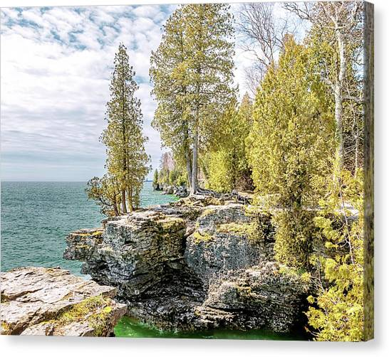 Underwater Caves Canvas Print - Cave Point Bluffs by Susan Rissi Tregoning