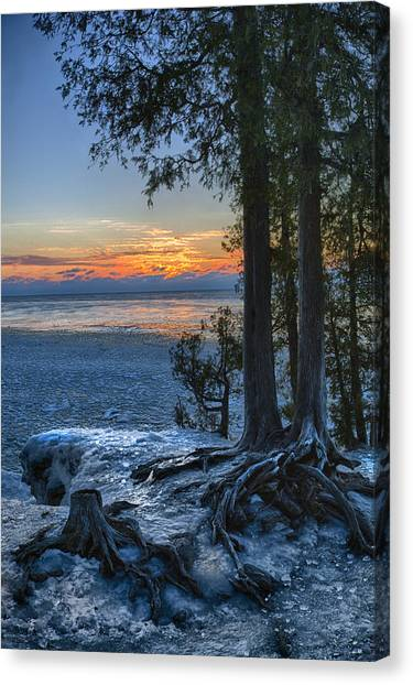 Cave Point Winter Canvas Print