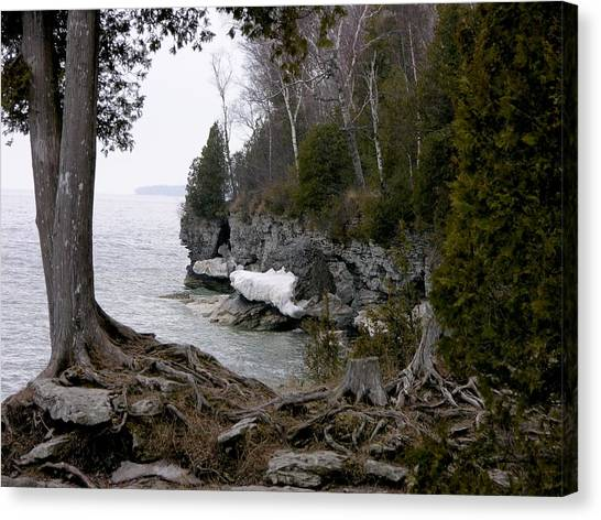 Cave Point Wisconsin Canvas Print by Keith Stokes