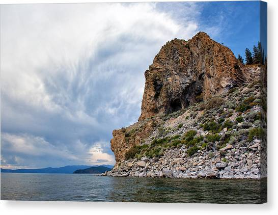 Mountain Caves Canvas Print - Cave Rock - Lake Tahoe - Nevada by Bruce Friedman