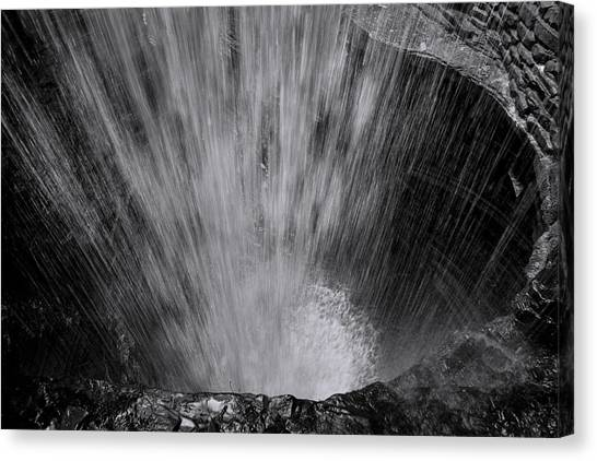 Caverns Canvas Print - Cavern Cascade - Black And White by Stephen Stookey