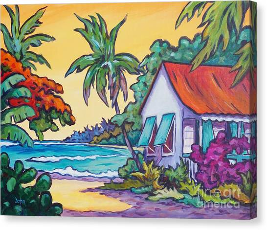 Tropical Stain Glass Canvas Print - Cayman Cottage On The Bay by John Clark