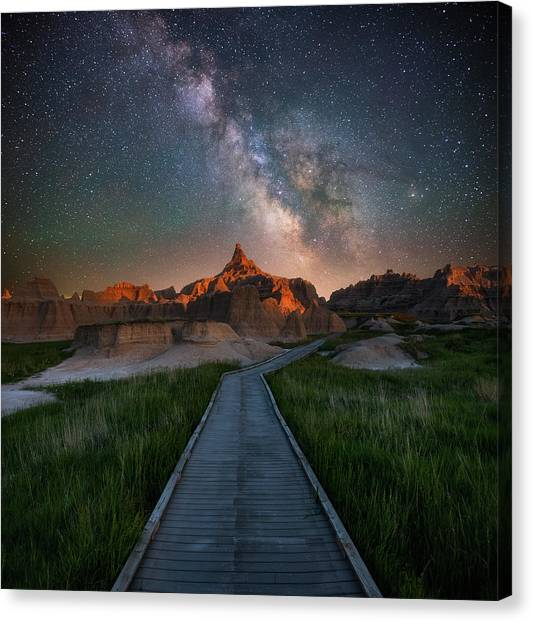 South Dakota Canvas Print - Cedar Pass Night Walk by Darren White