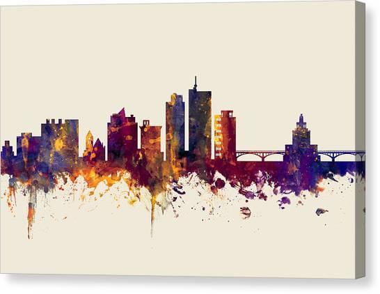 Rapid Canvas Print - Cedar Rapids Iowa Skyline by Michael Tompsett