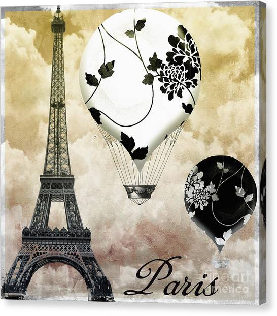 Paris Skyline Canvas Print - Ceil Jaune II Vintage Hot Air Balloon by Mindy Sommers