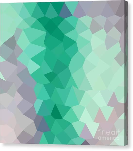 Celadon Green Abstract Low Polygon Background Canvas Print by Aloysius Patrimonio