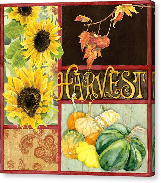 Vegetable Stands Canvas Print - Celebrate Abundance - Harvest Fall Leaves Squash N Sunflowers W Paisleys by Audrey Jeanne Roberts