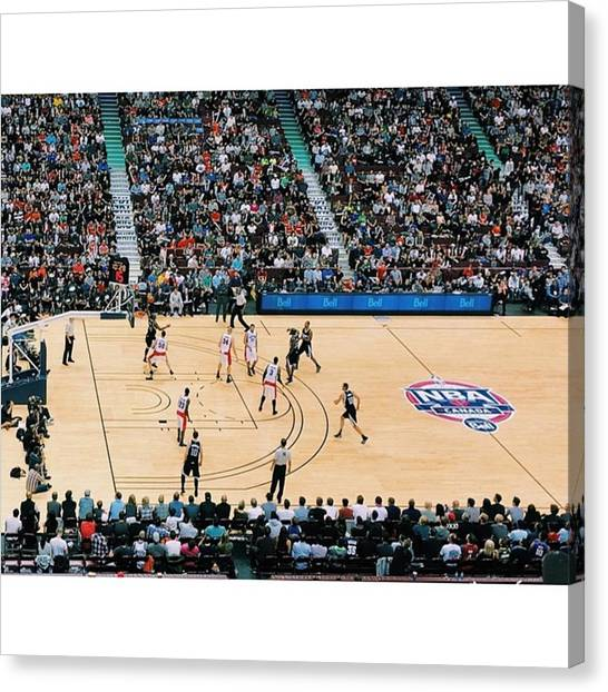 Sacramento Kings Canvas Print - Pre-season Raptors by Sean Meier