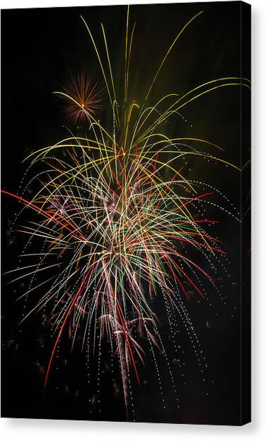 Pyrotechnics Canvas Print - Celebrating The 4th by Garry Gay