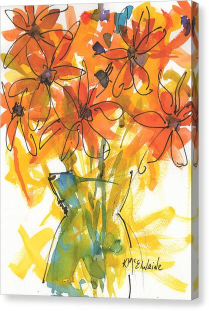 Celebration Of Sunflowers Watercolor Painting By Kmcelwaine Canvas Print