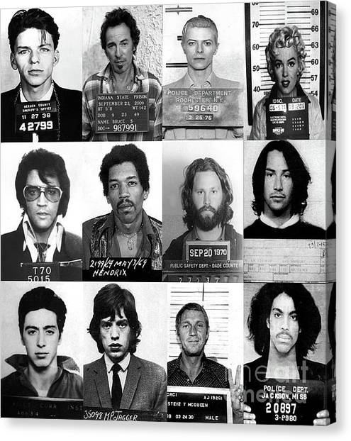 Keanu Reeves Canvas Print - Celebrity Mug Shots Of Legends From Movie, Music And Gangsters - Doc Braham - All Rights Reserved by Doc Braham