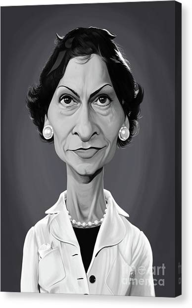 Canvas Print featuring the digital art Celebrity Sunday - Coco Chanel by Rob Snow