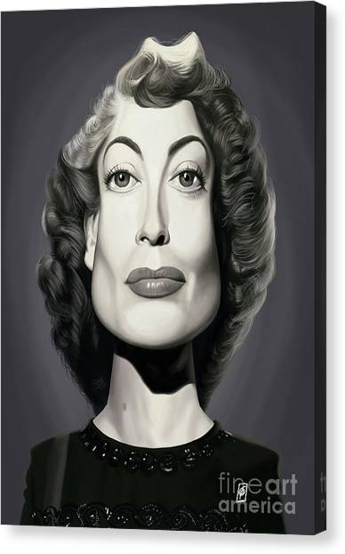 Canvas Print featuring the digital art Celebrity Sunday - Joan Crawford by Rob Snow
