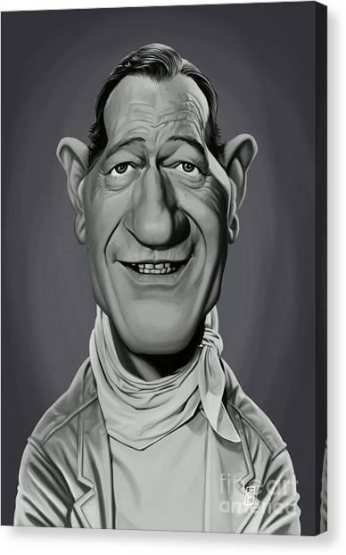 Canvas Print featuring the digital art Celebrity Sunday - John Wayne by Rob Snow