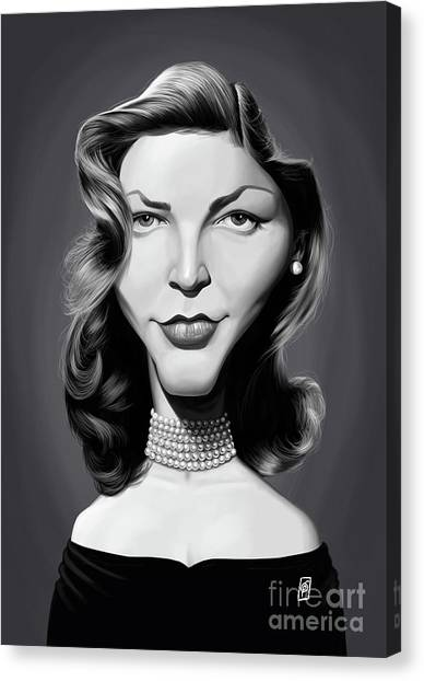 Canvas Print featuring the digital art Celebrity Sunday - Lauren Bacall by Rob Snow