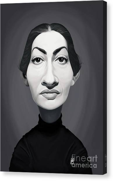 Canvas Print featuring the digital art Celebrity Sunday - Maria Callas by Rob Snow