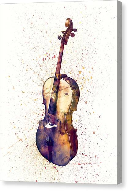 Cellos Canvas Print - Cello Abstract Watercolor by Michael Tompsett
