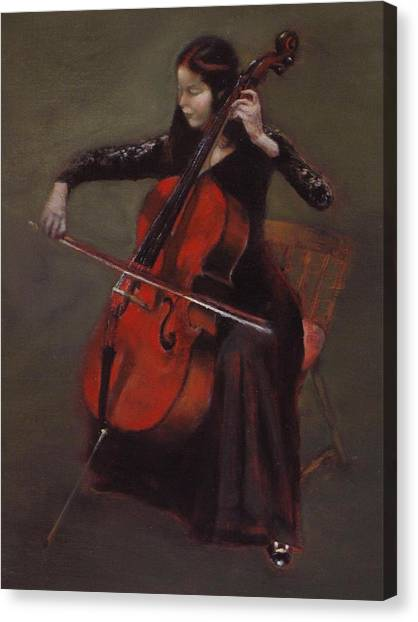 Cello Player Canvas Print by Takayuki Harada